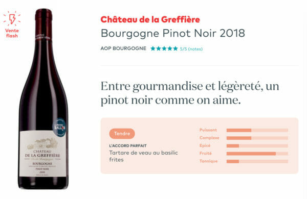 Voilà un exemple de Pinot Noir de Bourgogne, environ 10€, ce vin rouge est idéal pour une raclette